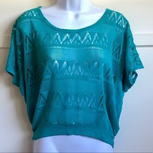 Tops - Blue Green Crochet Style Lace Throw Shirt / Blouse